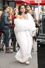 arctic fashion lady gaga hits the streets of new york in a white fur hooded