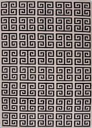 greek key flat wool rug black white limited