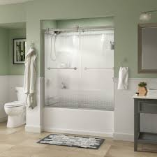 delta crestfield 60 in x 58 3 4 in semi frameless contemporary sliding bathtub door in nickel with droplet glass 810612 the home depot