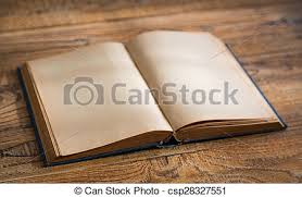 open blank pages of old book on wood background csp28327551