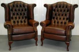 chair ebay. chair. pair of queen anne chestnut brown leather chesterfield wing back chair ebay