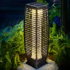 details about deuba solar poly rattan standard light patio led garden wicker standing lantern
