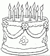 Cake Coloring Pages Birthday Page Clipart Pencil And In