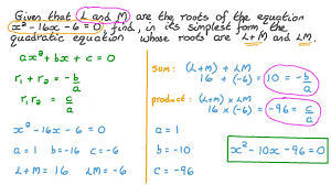 forming a quadratic equation in the