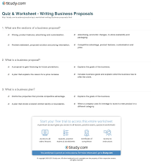 it business proposal quiz worksheet writing business proposals study com