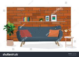 the bricks furniture. The Brick Living Room Furniture. Vector Interior Design Illustration. Wall Room. Bricks Furniture C