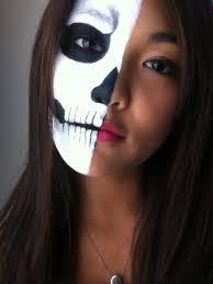 half face skull make up scare tactics easy