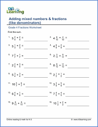 4th grade math fractions worksheets