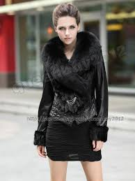 100 real sheep leather mink fur coat jacket
