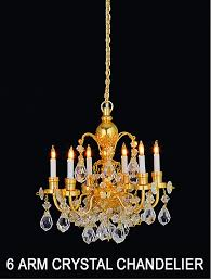 real crystal 6 arm chandelier gold finish
