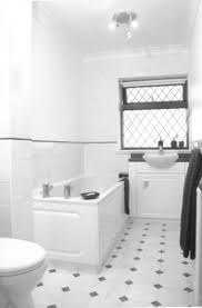 a bathroom with ceramic tile