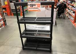 amazing plastic shelving home depot h d x 4 tier storage only 19 88 at leave a comment homebase bargain canada garage unit black