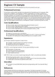 Cv Samples For Engineering Students Engineer Cv Sample Myperfectcv