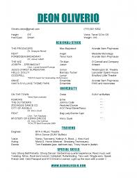 Theater Resume Examples Musical Theatre Template Technical Theater