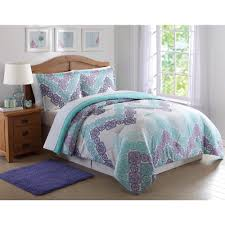antique lace chevron purple and teal twin xl comforter set