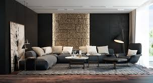 Image of: Living Room with Black Furniture and Wall
