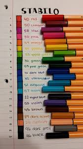 Stabilo Pen Color Chart 20 Pack Coisas De Papelaria