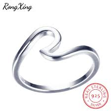 RongXing 100% Real 925 Sterling <b>Silver Wave Rings</b> For Women ...