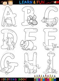 simplified alphabet coloring book cartoon or page set with funny s