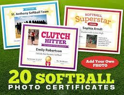 Softball Photo Certificates Player And Coach Awards Team