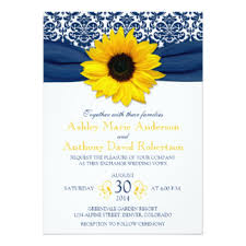 yellow and blue sunflower wedding invitations & announcements zazzle Wedding Invitations Navy And Yellow yellow sunflower navy blue damask ribbon wedding card navy blue and yellow wedding invitations