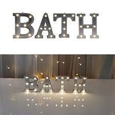 decorative illuminated bath marquee word sign silver color 421 tall lighted letter words and signs for