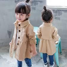 autumn spring baby girl trench coat long jacket kids turn down collar overcoat children fashion windbreaker outwear fashion trench coat trench coat for