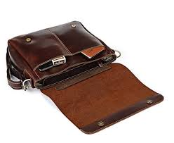 coffee leather flapover briefcase