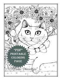 Kids will love drawing and coloring the winter coloring pages. Pdf Printable Coloring Page Holiday Winter Cat Poinsettias Etsy