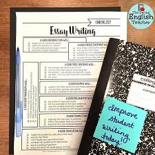 essay writing checklist for middle school and high school essay writing checklist for middle school and high school english secondary ela essay writing