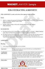 Subcontractor Contract Template Cool Subcontract Agreement Create A Subcontractor Contract Online