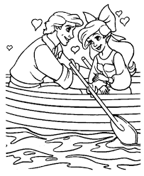 Small Picture Ariel And Prince Eric in a boat coloring page Free Printable