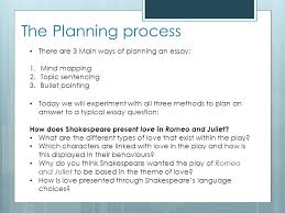 revision focus romeo and juliet ppt video online the planning process there are 3 main ways of planning an essay