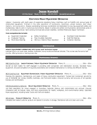 Heavy Equipment Operator Resume Objective Best Template Collection