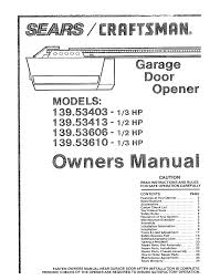craftsman garage door opener manual. Craftsman Garage Door Opener Manual R