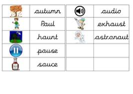 These worksheets feature five key words that end in 'ing'. Aw And Au Matching Picture And Word Game Teaching Resources