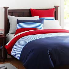 nantucket stripe duvet cover sham navy red