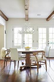 mixed chairs at round dining table