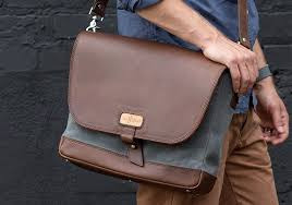 mens leather and canvas messenger bag