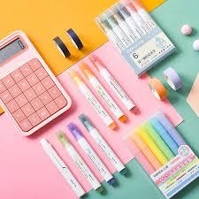 6pcs Retro <b>Color</b> Highlighter Pen Set Morandi <b>Candy Fluorescent</b> ...