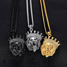 refined hip hop boy personality men s necklace crown lion head micro inlaid titanium steel