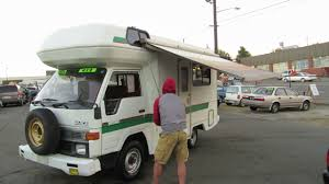 Toyota Hiace Truck RV 1992 diesel F5, opening Awning - YouTube