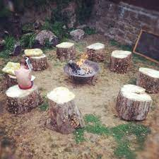 I Have Stumps From A Pine Tree We Took Down Last Year These Will Look Nice Around The Fire Pit Overlooking T Fire Pit Backyard Garden Fire Pit Stump Fire Pit