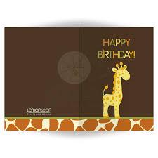 Folded Birthday Card Happy Birthday Giraffe Print Folded Card