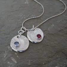 silver fingerprint necklace fingerprint birthstone necklace silver birthstone necklace personalized fingerprint necklace mother necklace jewelry