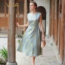 VOA Silk Long Dress Women Sleeveless Sliver Grey Luxury Vintage Elegant  Office Ladies Retro Chinese Brocade Dresses Fall A6619 silk dress midi  dressdress yellow - AliExpress