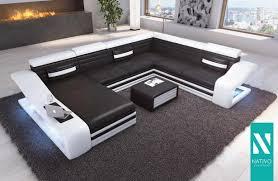 Nativo Ledermix Wohnlandschaft Mirage Xxl Mit Led Beleuchtung Couch Garnitur