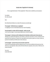 Cover Letter Forms Formal Scholarship Application Letter Cover