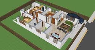 3d interior view of small house plan shp 1009