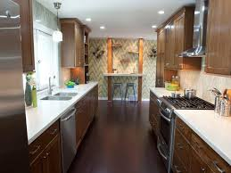 Light Small Galley Kitchen Design Ideas With Wall Mounted Table